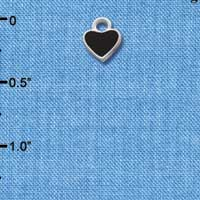C1396+ ctlf - Mini 2-D Black Heart - Silver Plated Charm (6 per package)