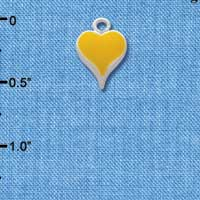 C1397 tlf - Small Long Yellow Heart - Silver Plated Charm (6 per package)