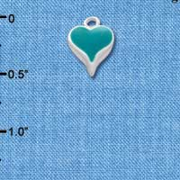 C1398 - Small Long Teal Heart - Silver Plated Charm (6 per package)
