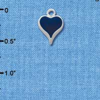 C1401 - Small Long Blue Heart - Silver Plated Charm (6 per package)