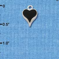 C1403 tlf - Small Long Black Heart - Silver Plated Charm (6 per package)