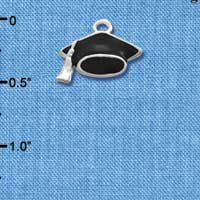 C1424 tlf - Graduation Cap - Silver Plated Charm (6 per package)
