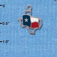 C1434 tlf - Texas Outline Flag - Im. Rhodium Plated Charm (6 per package)