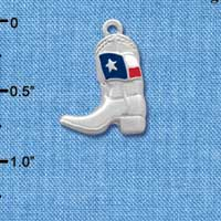 C1455* tlf - Boot Fancy Texas Flag - Im. Rhodium Plated Charm (6 per package)