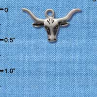 C1558 tlf - Longhorn - Im. Rhodium Plated Charm (6 per package)