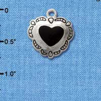C1585 tlf - Heart Concho Black - Silver Plated Charm (6 per package)