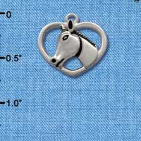 C1652* tlf - Horse Head in Heart - Silver Plated Charm (left & right) (6 per package)