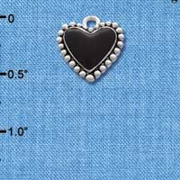C1665 ctlf - Black Heart with Beaded Border - Silver Plated Charm (6 per package)