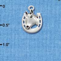 C1679* tlf - Horse head Horseshoe - Silver Plated Charm (6 per package)