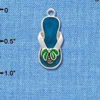 C1938 tlf - Flip Flop Palm Tree Blue - Silver Plated Charm (6 per package)