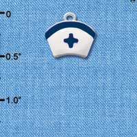 C2044 tlf - Nurse Hat blue cross ctlf - Silver Plated Charm (6 per package)