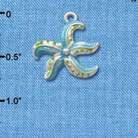 C2424 tlf - Starfish - Blue - Silver Plated Charm (6 per package)