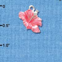 C2435 tlf - Hibiscus Flower - Hot Pink - Silver Plated Charm (6 per package)