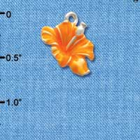 C2436 ctlf - Hibiscus Flower - Orange - Silver Plated Charm (6 per package)
