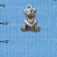 C2502 tlf - Teddy Bear - Silver Plated Charm (6 per package)