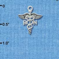 C2535 tlf - Registered Nurse - RN - Caduceus - Silver Plated Charm (6 per package)