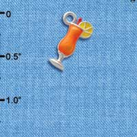 C2617+ tlf - 3-D Orange Tropical Drink - Silver Plated Charm (6 per package)