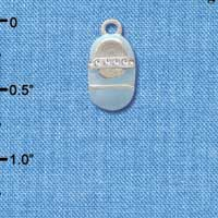 C2794+ ctlf - Light Blue Enamel Baby Shoe with Clear Crystal Strap - Silver Plated Charm (6 per package)