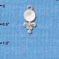 C2824+ ctlf - Clear Frosted Baby Rattle - Silver Plated Charm (6 per package)