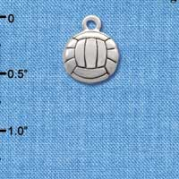 C2893+ tlf - Silver Volleyball/ Water Polo - 2 Sided - Silver Plated Charm (6 per package)