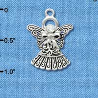 C2962 ctlf - Antiqued Silver Angel with Bow & Crystal - Silver Plated Charm (6 per package)