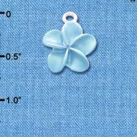 C3261 tlf - Pearl Blue Plumeria Flower - Silver Plated Charm (6 per package)