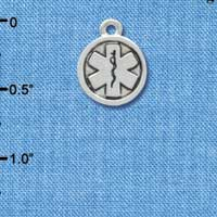 C3564 tlf - Silver Round EMT Sign - 2-D - Silver Plated Charm (6 per package)