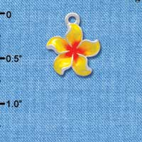 C3571 tlf - Yellow and Orange Plumeria Flower - Silver Plated Charm (6 per package)