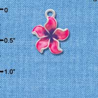 C3573 tlf - Hot Pink and Purple Plumeria Flower - Silver Plated Charm (6 per package)