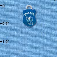 C3596 tlf - Blue Policeman's Badge - Silver Plated Charm (6 per package)