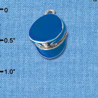 C3597 tlf - Blue Policeman's Hat - Silver Plated Charm (6 per package)