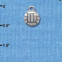 C4025+ tlf - Small Silver Volleyball/Water polo with AB Crystal - 2 Sided - Im. Rhodium Plated Charm (6 per package)