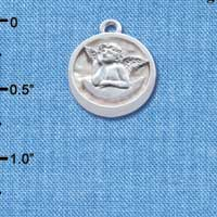 C4629+ tlf - Raphael Angel - Round Seal - Silver Plated Charm (2 per package)