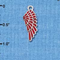 C4812* tlf - Medium Translucent Red Enamel Angel Wing - Silver Plated Charm (6 per package)
