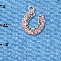 C4894+ tlf - Beaded Pink Crystal Horseshoe with Good Luck - Silver Plated Charm (2 per package)