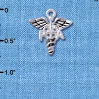 C4948 tlf - Caduceus - PTA - Silver Plated Charm (6 per package)