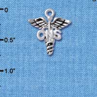 C4949 tlf - Caduceus - CNS - Silver Plated Charm (6 per package)