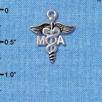 C4951 tlf - Caduceus - MA - Silver Plated Charm (6 per package)