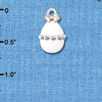 C5518+ tlf - White Easter Egg with Clear Crystal Band - Silver Plated Charm (2 per package)