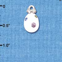 C5520+ tlf - White Easter Egg with Multicolored Crystal Dots - Silver Plated Charm (6 per package)