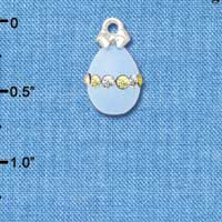 C5523+ tlf - Light Blue Easter Egg with Multicolored Crystal Band - Silver Plated Charm (2 per package)