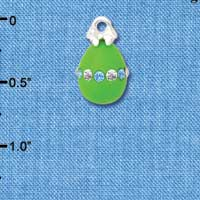 C5527+ tlf - Lime Green Easter Egg with Multicolored Crystal Band - Silver Plated Charm (2 per package)