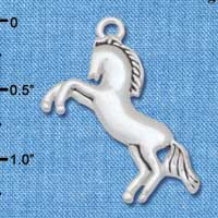 C5709 tlf - Large Running Horse - Silver Plated Charm (2 per package)