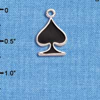 C5955+ tlf - Card Suit - Black Spade - Silver Plated Charm (6 per package)