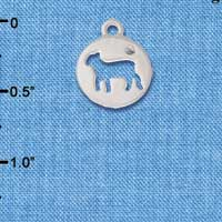 C6066+ tlf - Lamb Cutout Disc - Silver Plated Charm (6 per package)