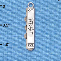C6137+ tlf - Best Friends Forever Bar - Silver Plated Charm (2 per package)