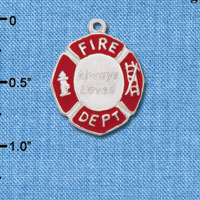 Wholesale C6212+ tlf - Always Loved Red Enamel Fire Shield - Silver Plated Charm (2 per package)