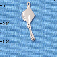C6251+ tlf - Graduation Hat - Silver Plated Charm (6 per package)