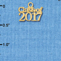 C6257 tlf - Class of 2017 - Goldtone Plated Charm (6 per package)