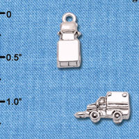 C6599+ tlf - 3-D Ambulance - Silver Plated Charm (6 per package)